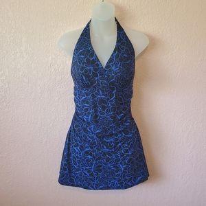 L.L. Bean BlueBlack Floral Slimming Swimsuit Dress